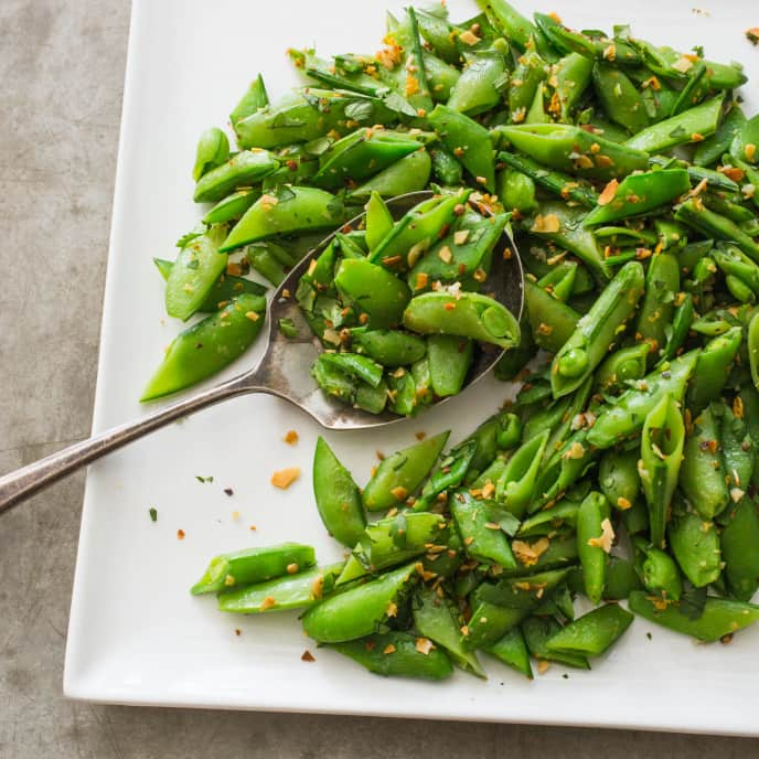 Sugar Snap Peas with Almonds, Coriander, and Orange Zest