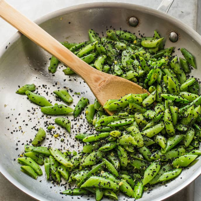Sugar Snap Peas with Sesame, Ginger, and Lemon Zest