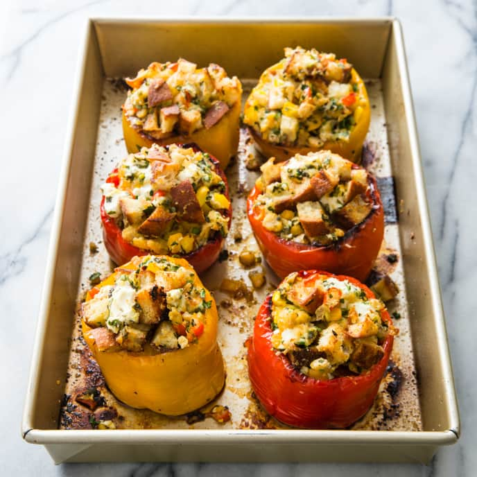 Stuffed Peppers with Chickpeas, Goat Cheese, and Herbs