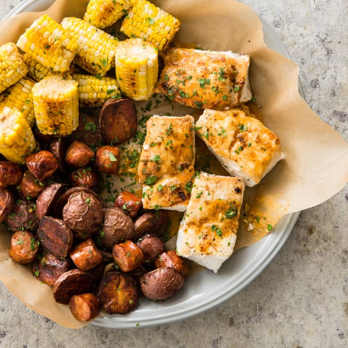 One-Pan Halibut with Red Potatoes, Corn, and Andouille