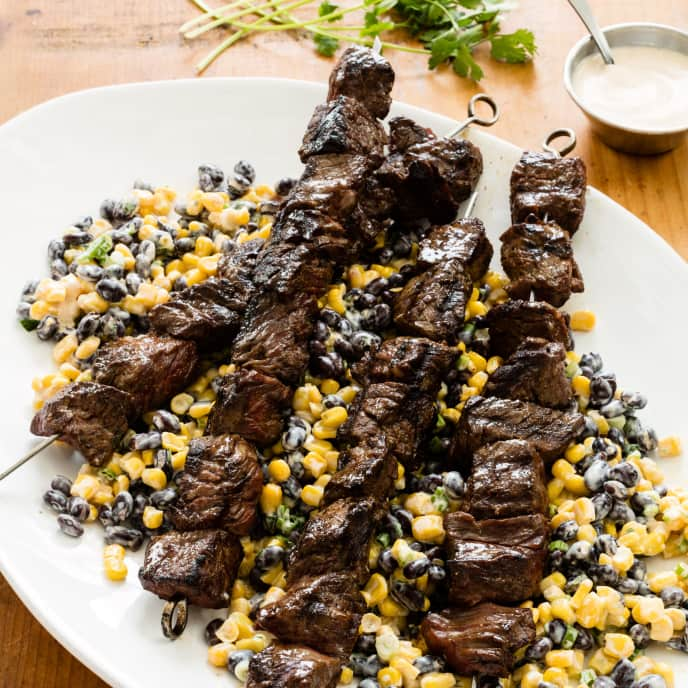 Smoky Beef Skewers with Corn and Black Bean Salad