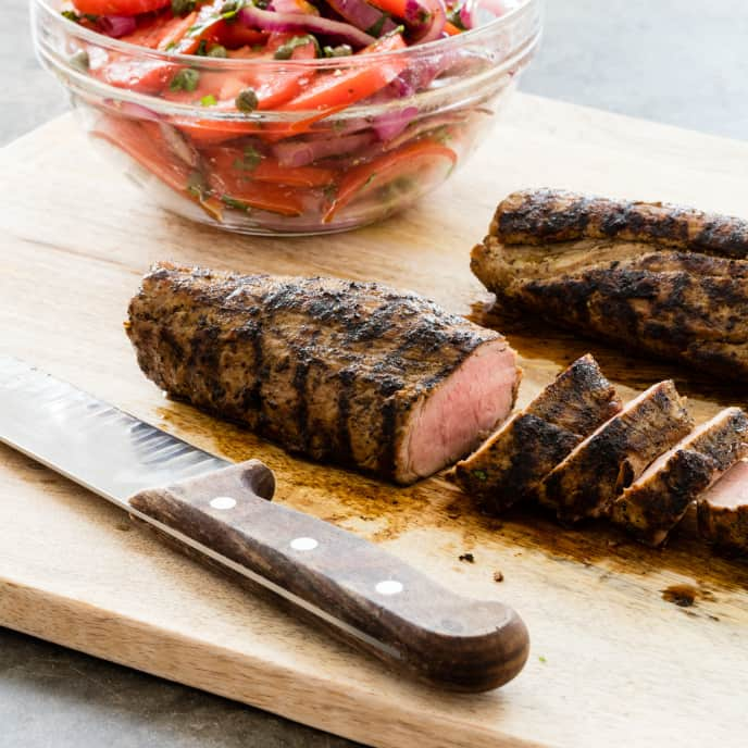Grilled Pork Tenderloin with Tomato-Onion Salad