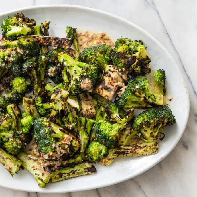 Grilled Broccoli with Anchovy-Garlic Butter