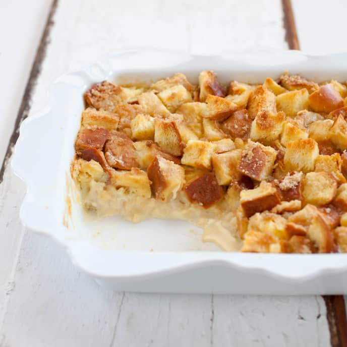 Rich Bread Pudding with Raisins and Walnuts