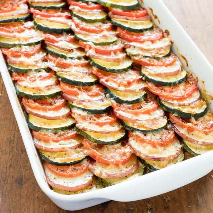 Zucchini, Tomato, and Potato Tian with Caramelized Onions