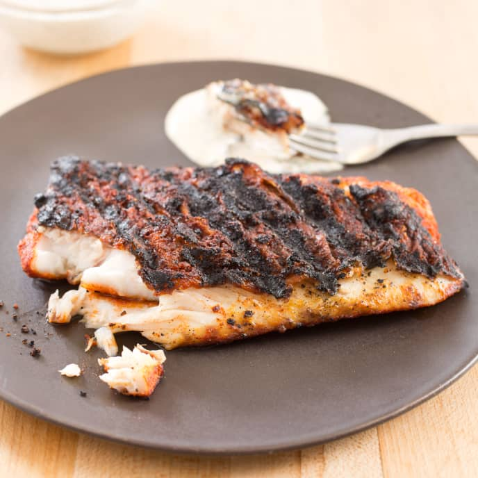 Gas-Grilled Blackened Red Snapper
