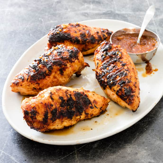 Gas-Grilled Bone-In Chicken Breasts