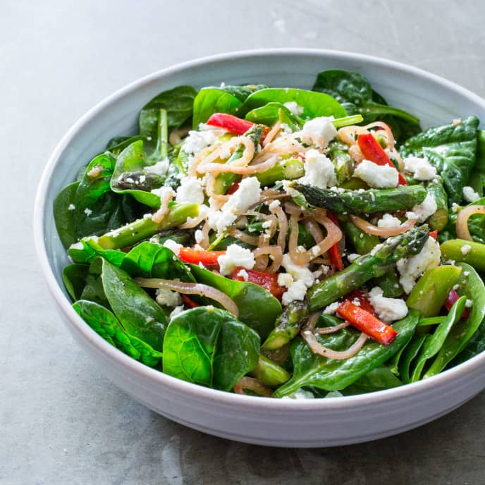 Asparagus, Red Pepper, and Spinach Salad with Sherry Vinegar and Goat Cheese