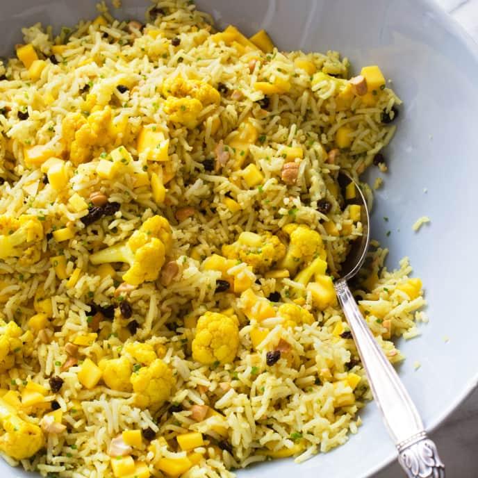 Curried Rice Salad with Cauliflower, Mango, and Cashews