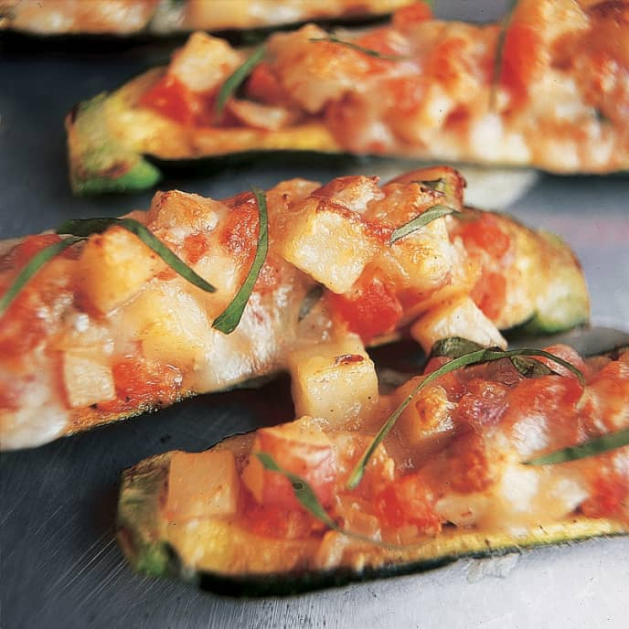 Stuffed Zucchini With Tomatoes and Jack Cheese