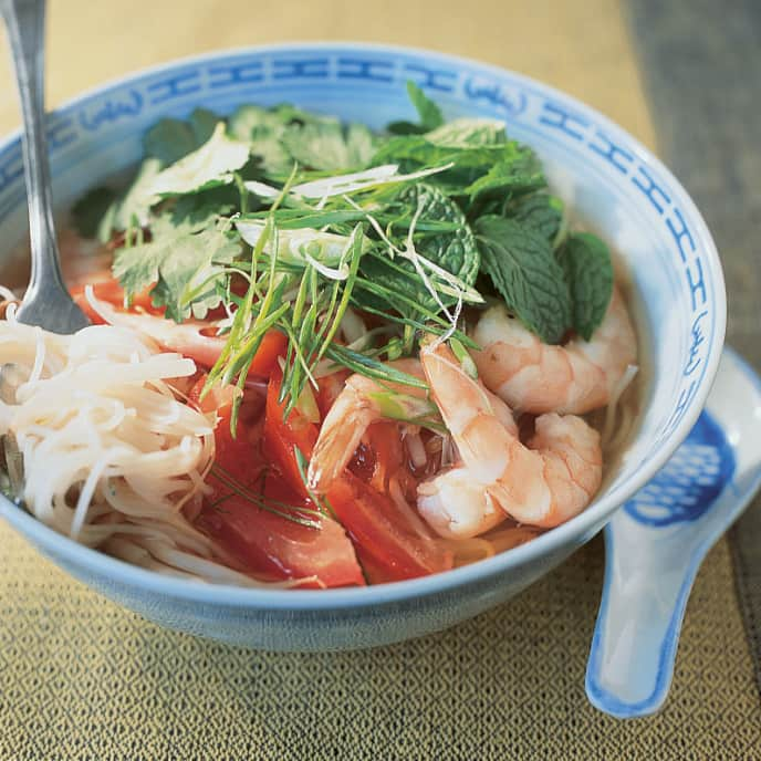 Hot and Sour Noodle Soup with Shrimp and Tomato