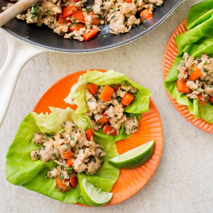 Paleo Thai Chicken Lettuce Wraps