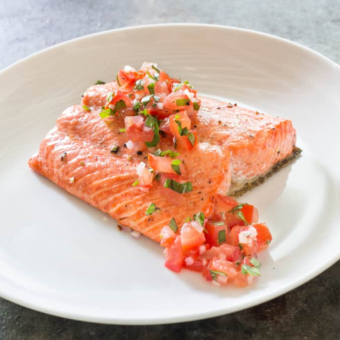 Paleo Oven-Roasted Salmon with Tomato Relish