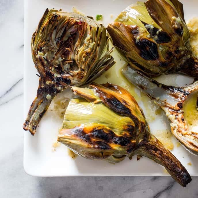 Grilled Artichokes with Lemon Butter