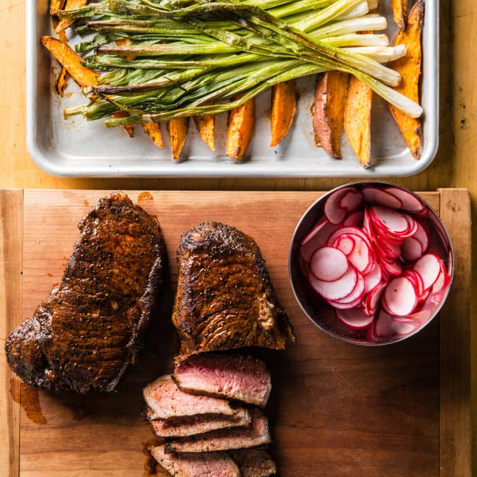 One-Pan Steak with Sweet Potatoes and Scallions