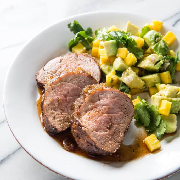 Jerk Pork Tenderloin with Avocado-Mango Salad
