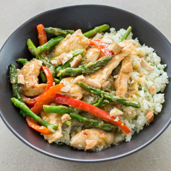 Paleo Gingery Stir-Fried Chicken with Asparagus and Bell Pepper