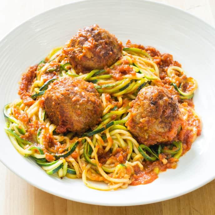 """Paleo Zucchini """"Spaghetti"""" and Meatballs"""