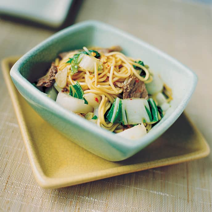 Bok Choy and Chinese Egg Noodles with Spicy Beef Sauce