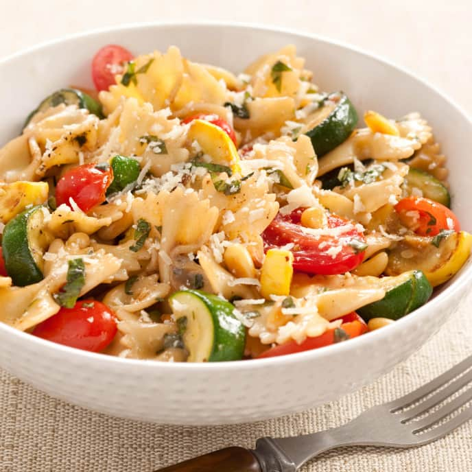 Pasta and Squash with Tomatoes, Olives, and Feta