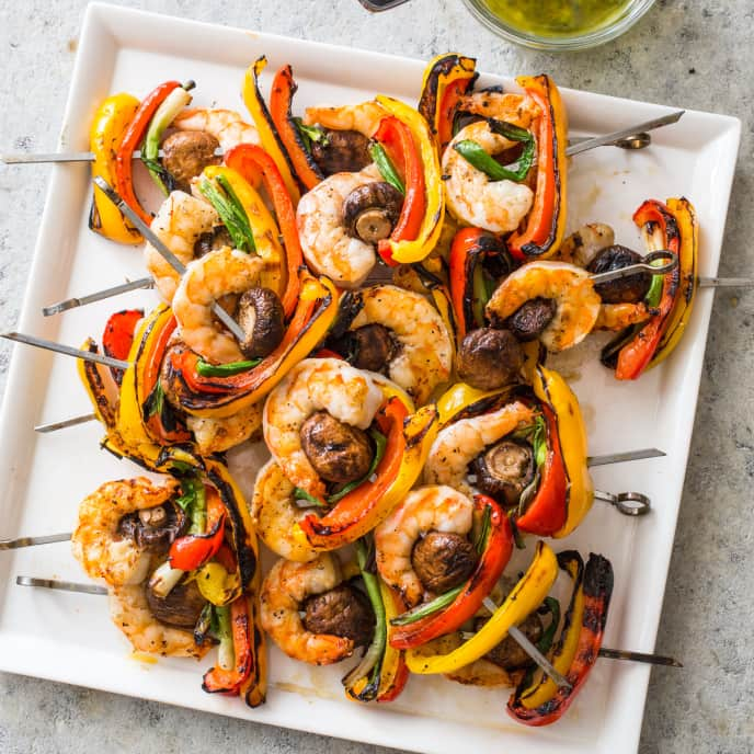 Grilled Shrimp and Vegetable Kebabs