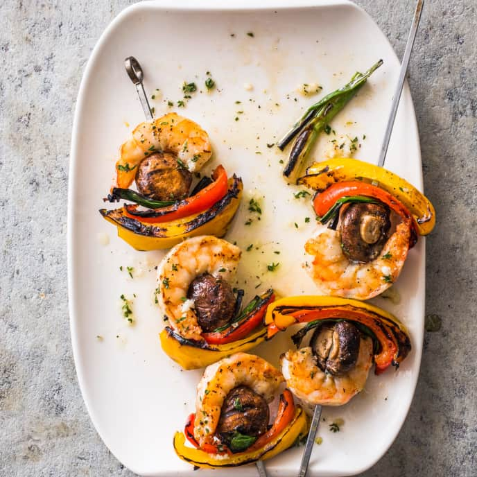 Grilled Shrimp and Vegetable Kebabs for Two