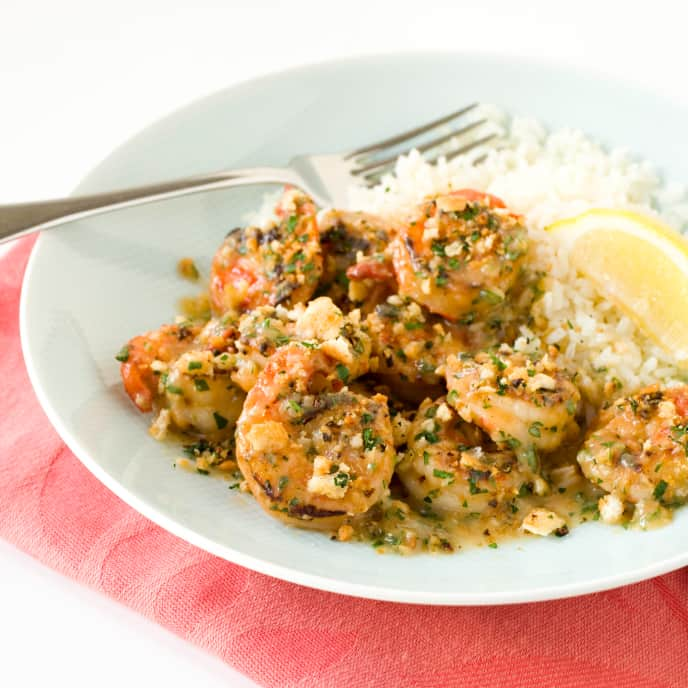 Garlicky Shrimp with Bread Crumbs