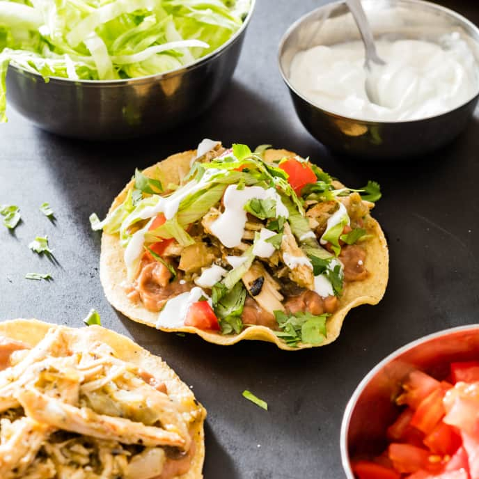 Tomatillo Chicken Tostadas