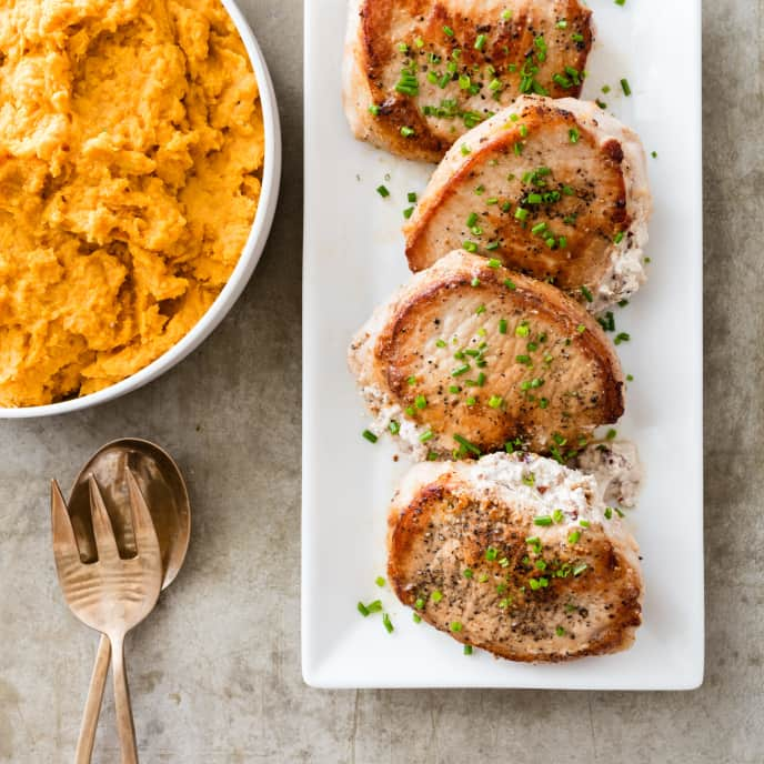 Pecan-Stuffed Pork Chops with Mashed Sweet Potatoes