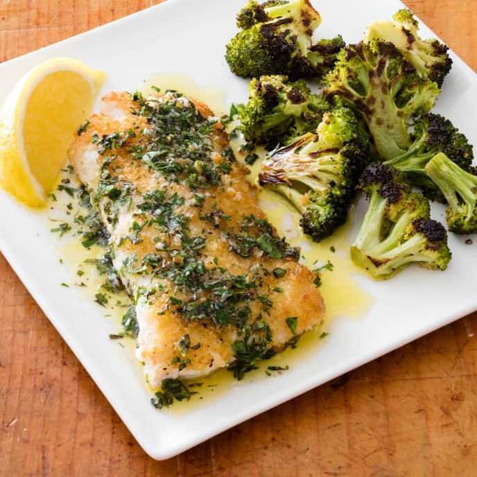 Pan-Seared Haddock with Broccoli and Oregano Vinaigrette
