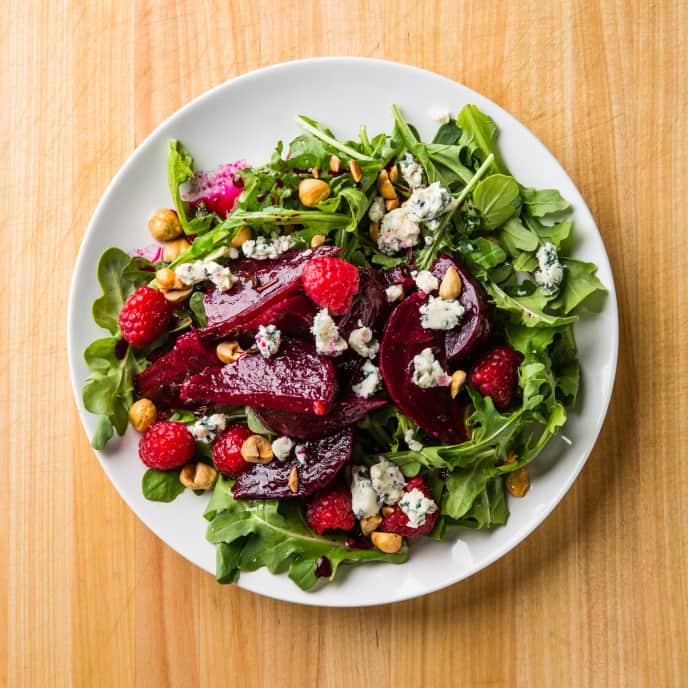 Marinated Beet Salad with Raspberries and Blue Cheese