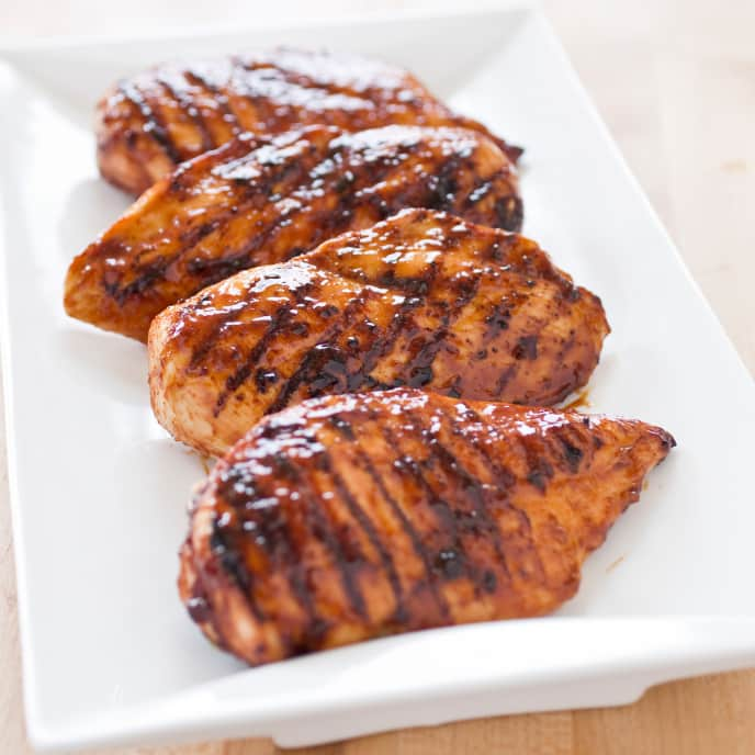 Grilled Glazed Boneless, Skinless Chicken Breasts