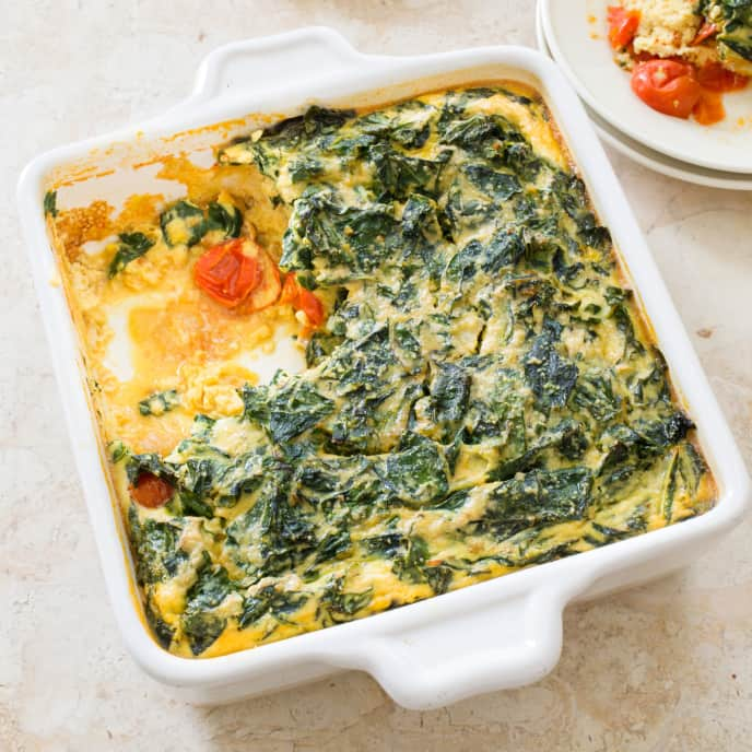Paleo Spiced Breakfast Casserole with Tomatoes and Swiss Chard