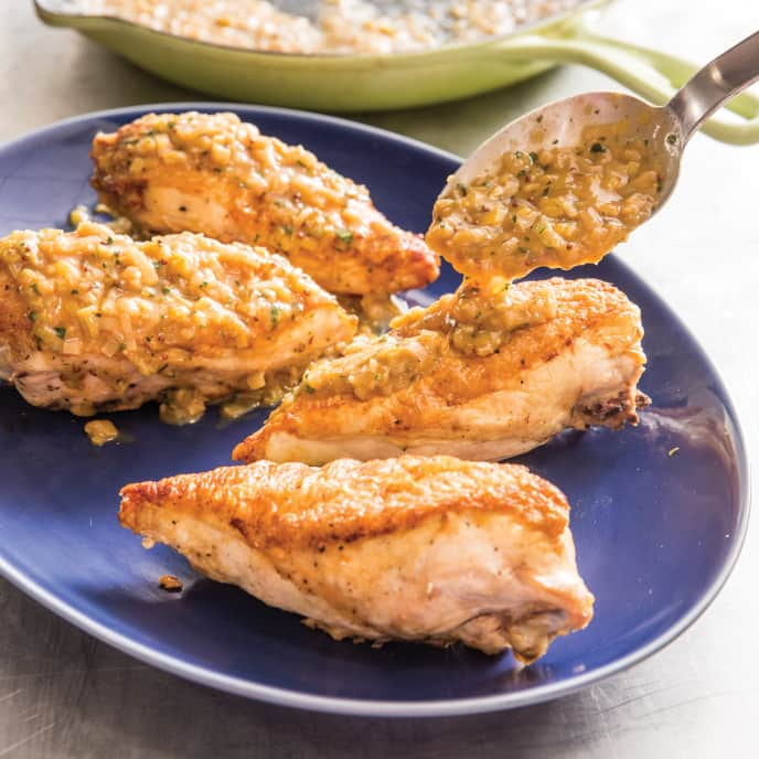 Cast Iron Oven-Seared Chicken Breasts with Leek and Tarragon Pan Sauce