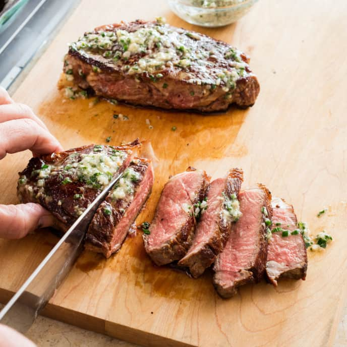 Cast-Iron Thick-Cut Steaks with Herb Butter