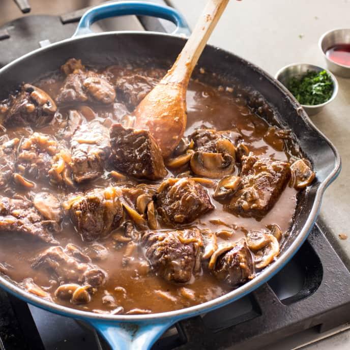 Cast Iron Steak Tips with Mushroom-Onion Gravy