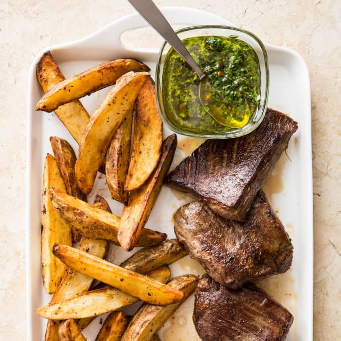 Cast Iron Pan-Seared Flank Steak with Crispy Potatoes and Chimichurri
