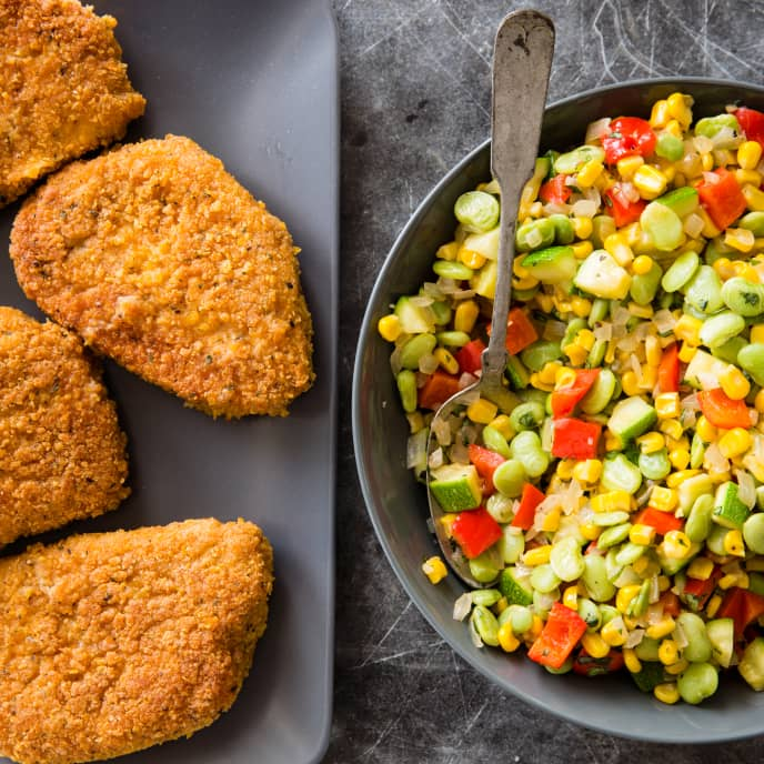 Cast Iron Crispy Pan-Fried Pork Chops with Succotash