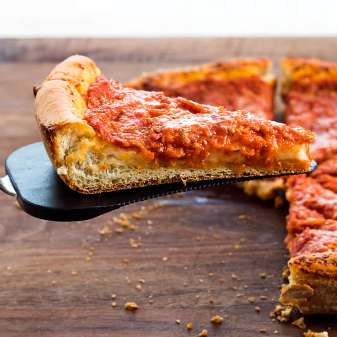 Cast Iron Chicago-Style Pepperoni Pan Pizza