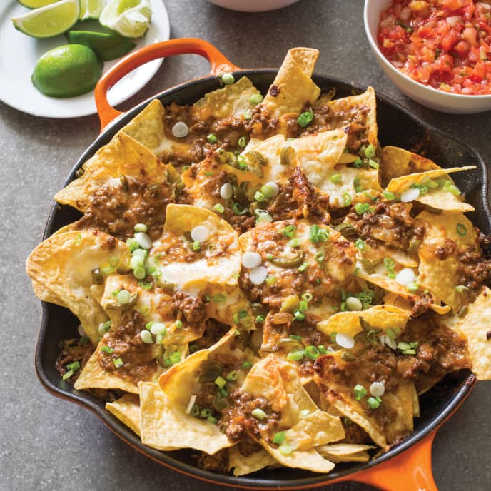 Cast Iron Loaded Beef Nachos