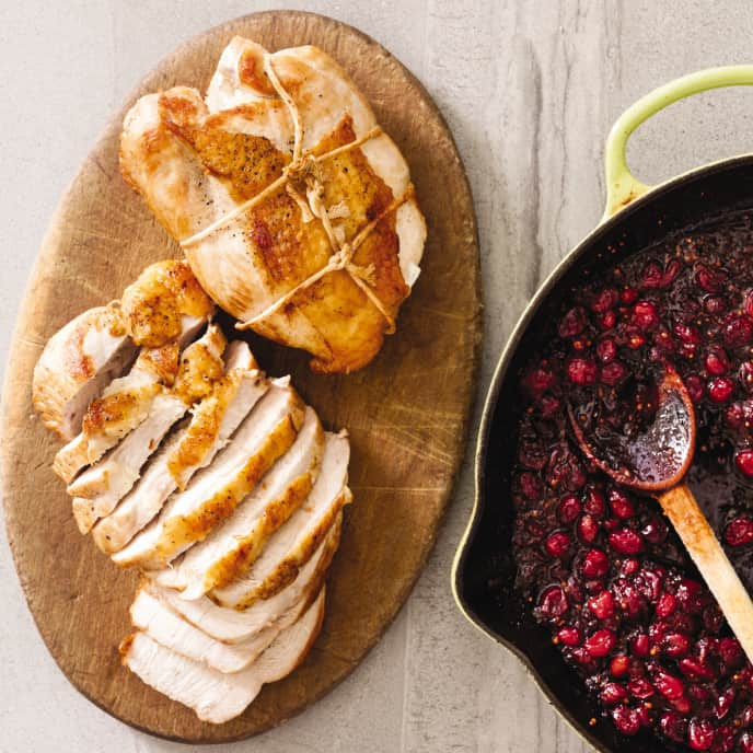 Cast Iron Boneless Turkey Breasts with Cranberry Chutney