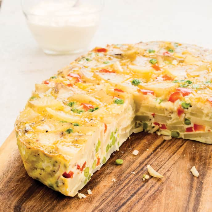 Slow-Cooker Spanish Tortilla with Roasted Red Peppers