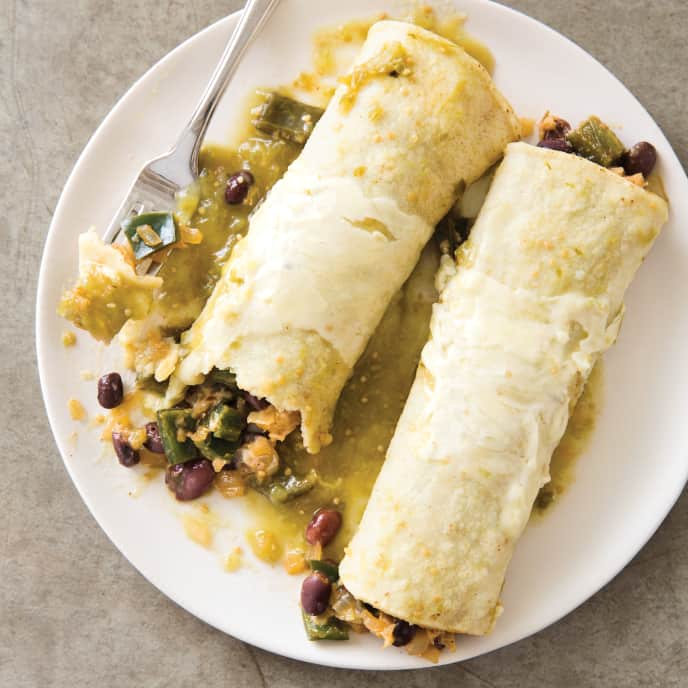 Slow-Cooker Vegetable Enchiladas with Poblanos and Beans for Two
