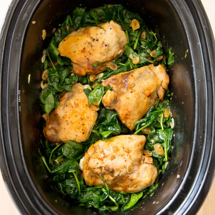 Slow-Cooker Braised Chicken Thighs With Garlicky Spinach