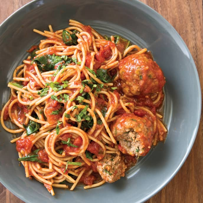 Slow-Cooker Spaghetti with Meatballs Florentine
