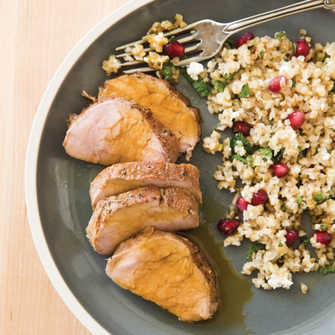 Slow-Cooker Pork Tenderloin with Spiced Bulgur Salad for Two