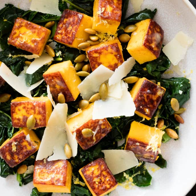 Butternut Squash Gnudi with Kale, Parmesan, and Pepitas