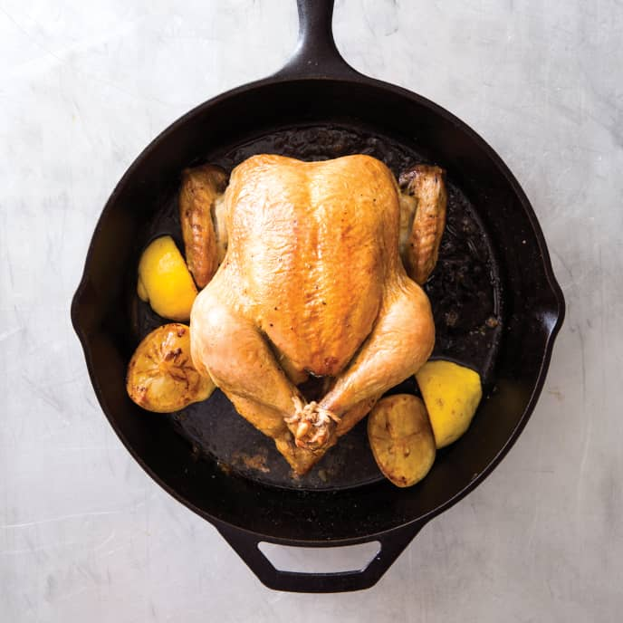 Cast Iron Classic Roast Chicken with Lemon-Thyme Pan Sauce
