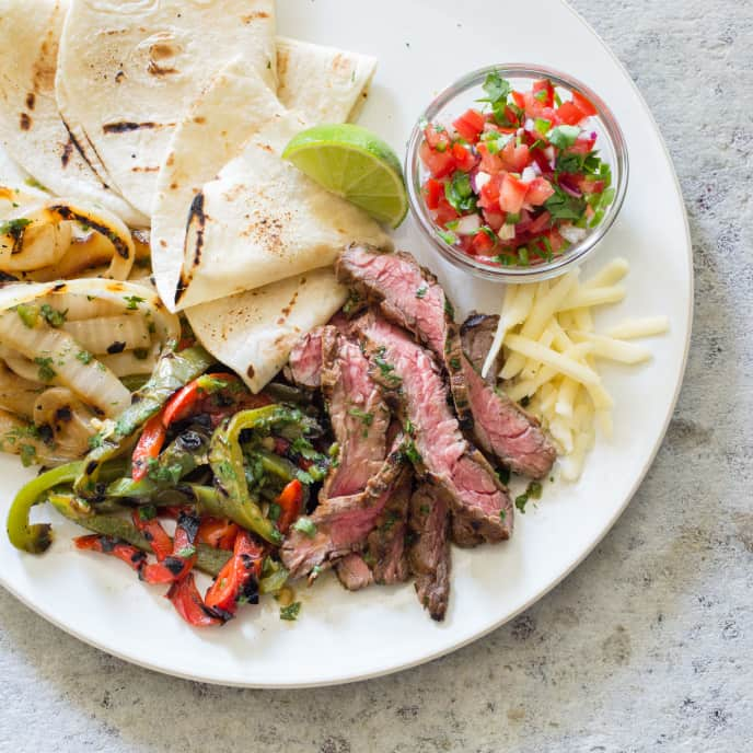 Skirt Steak Fajitas on a Gas Grill
