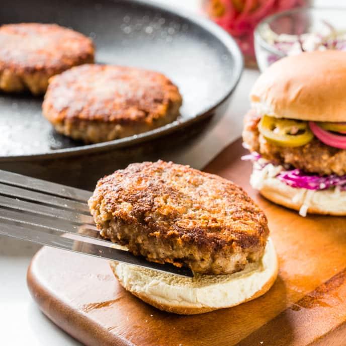 Crispy Skillet Turkey Burgers